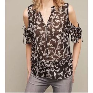 Maeve Cold Shoulder Shirt, NWOT, Anthropologie S